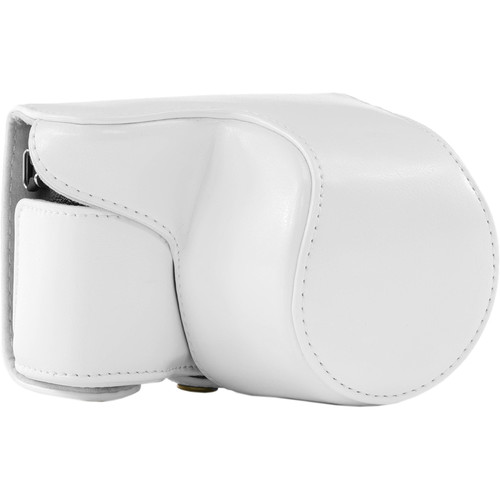 MegaGear Ever Ready PU Leather Case and Strap for Sony Alpha a5100, a5000 with 16-50mm Lens (White)