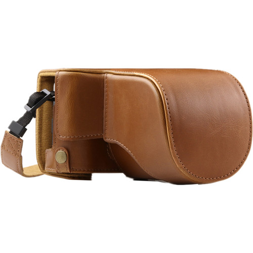 MegaGear Ever Ready PU Leather Case and Strap for Fujifilm X-A10 (Light Brown)