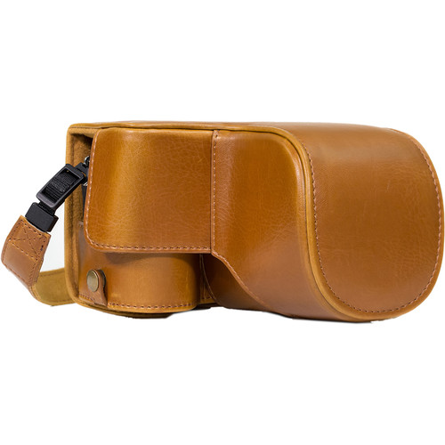 MegaGear MG1016 Ever Ready Leather Case with Bottom Opening for Sony a6500 ILCE-6500 with 16-70mm (Light Brown)