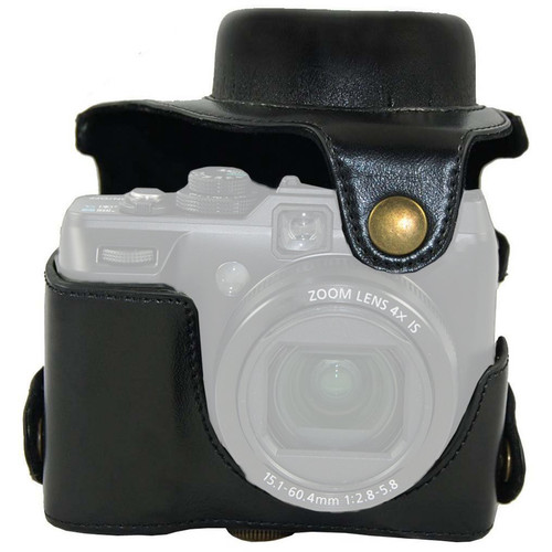 MegaGear Ever Ready Protective Black Leather Camera Case, Bag for Canon Powershot G1X, G1 X