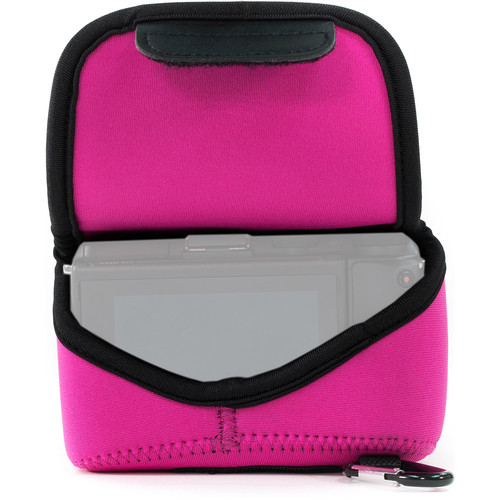 MegaGear Ultra-Light Neoprene Camera Case with Carabiner for Canon EOS M5 with 15-45mm (Hot Pink)