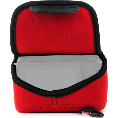 MegaGear MG1040 Ultra Light Neoprene Case with Carabiner for Canon EOS M5 with 15-45mm (Red)