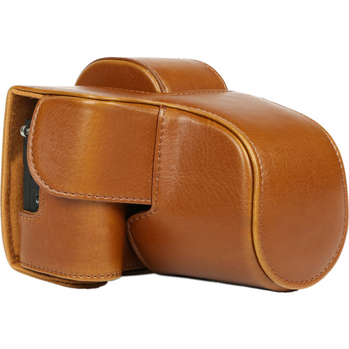 MegaGear Ever Ready Leather Camera Case for Canon EOS M5 with 15-45mm (Light Brown)