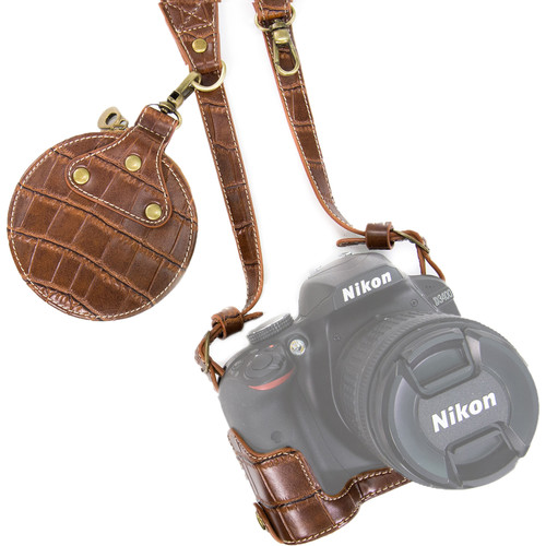 MegaGear Ever Ready PU Leather Half Case with Shoulder Strap for Nikon D3100-3400 (Dark Brown)