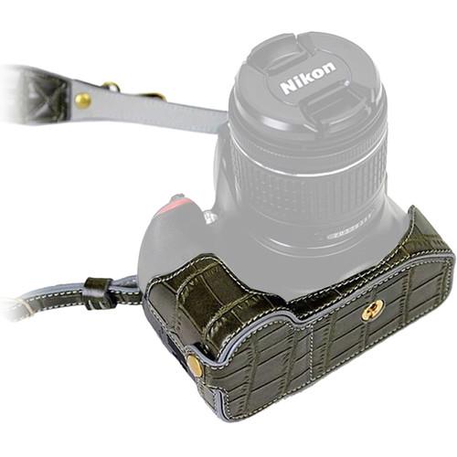 MegaGear Ever Ready PU Leather Half Case with Shoulder Strap for Nikon D3100-3400 (Black)