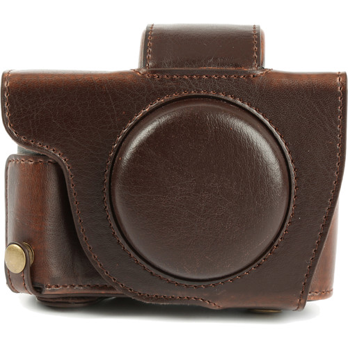 MegaGear Ever Ready Leather Camera Case with Bottom Opening for Canon G5 X (Dark Brown)