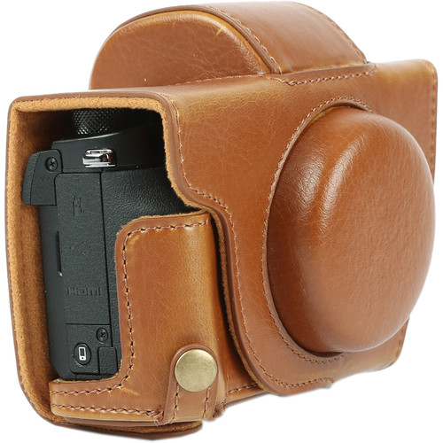 MegaGear Ever Ready Leather Camera Case with Bottom Opening for Canon G5 X (Light Brown)