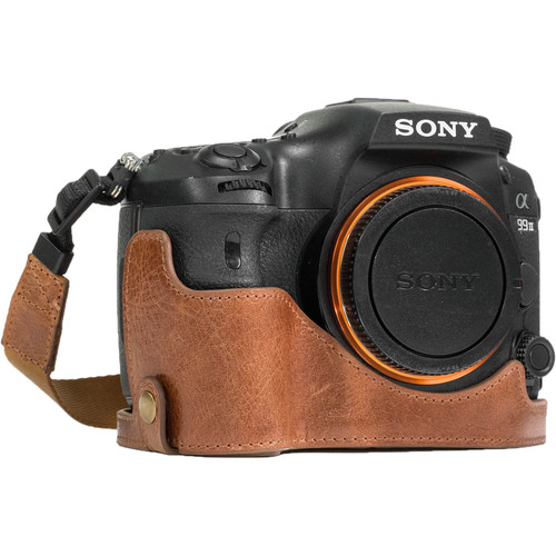 MegaGear Ever Ready Leather Half Case and Strap for Sony Alpha a99 II (Dark Brown)