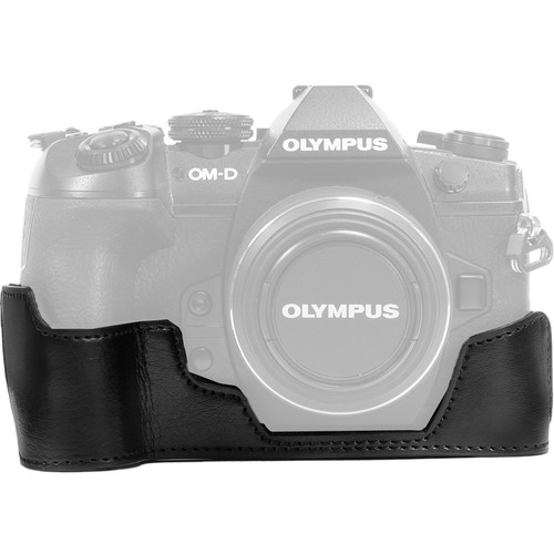 MegaGear Ever Ready PU Leather Half Case and Strap for Olympus OM-D E-M1 Mark II (Black)