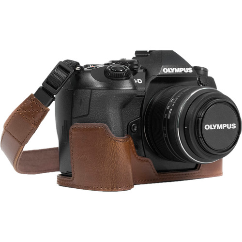 MegaGear Ever Ready PU Leather Half Case and Strap for Olympus OM-D E-M1 Mark II (Dark Brown)