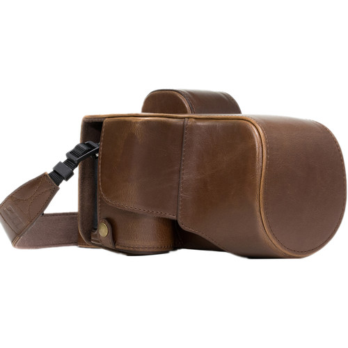MegaGear Ever Ready PU Leather Case & Strap for a7S II, a7R II, a7 II with 28-70mm (Dark Brown)
