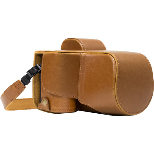 MegaGear Ever Ready PU Leather Case & Strap for a7S II, a7R II, a7 II with 28-70mm (Light Brown)