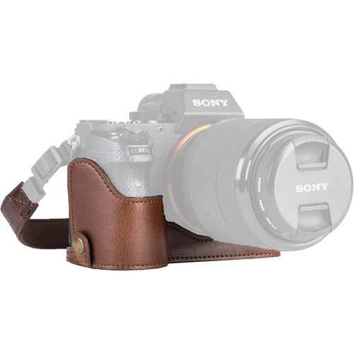 MegaGear Ever Ready PU Half Case and Strap for Sony Alpha a7S II, a7R II, a7 II (Dark Brown)