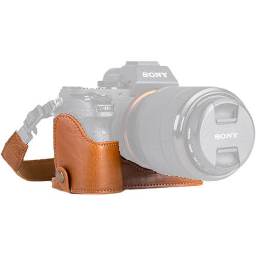 MegaGear Ever Ready PU Half Case and Strap for Sony Alpha a7S II, a7R II, a7 II (Light Brown)