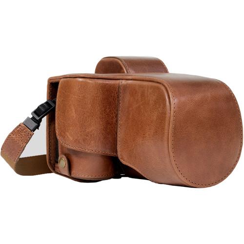 MegaGear Ever Ready Half-Bottom Protective Leather Case for Sony Alpha A7S II, A7R II, A7 II (Dark Brown)