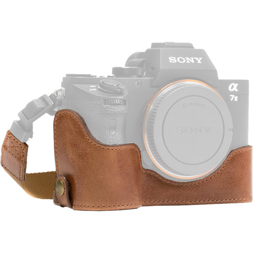 MegaGear Ever Ready Half-Bottom Protective Leather Case for Sony Alpha A7S II, A7R II, A7 II (Medium Brown)