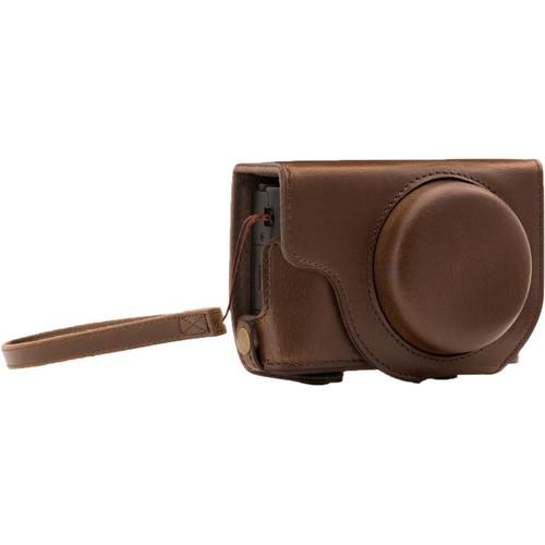 MegaGear Ever Ready Leather Camera Case for Panasonic LUMIX DMC-LX10 (Dark Brown)