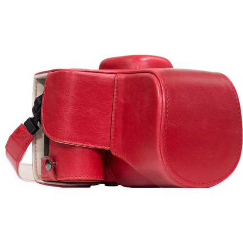 MegaGear Ever Ready PU Leather Case and Strap for Nikon D3400 with 18-55mm Lens (Red)