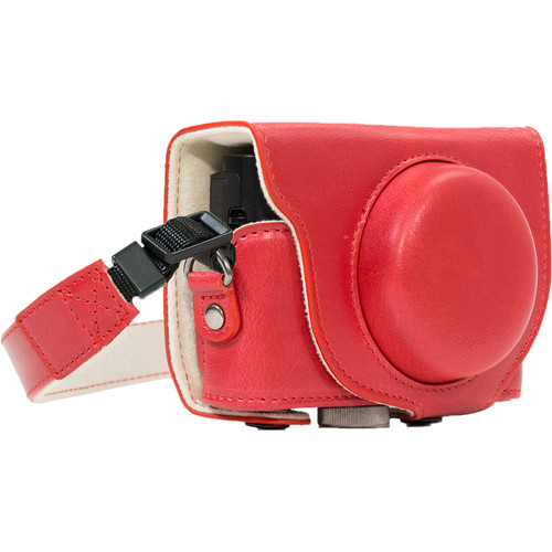 MegaGear Ever Ready PU Leather Camera Case and Strap for Sony Cyber-shot DSC-RX100 VI, V, IV, III (Red)