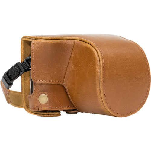 MegaGear Ever Ready PU Leather Case & Strap for Select Panasonic LUMIX with 12-32mm (Light Brown)