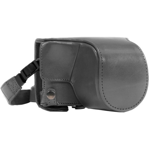 MegaGear Ever Ready PU Leather Case & Strap for Select Panasonic LUMIX with 12-32mm (Gray)