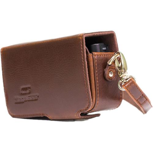 MegaGear PU Leather Case with Strap for Sony Cyber-shot DSC-HX95, HX99, HX80, HX90V, WX500 (Dark Brown)