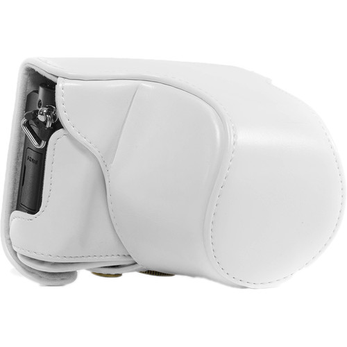MegaGear Ever Ready PU Leather Case and Strap for Panasonic LUMIX DMC-GM1 with 12-32mm Lens (White)