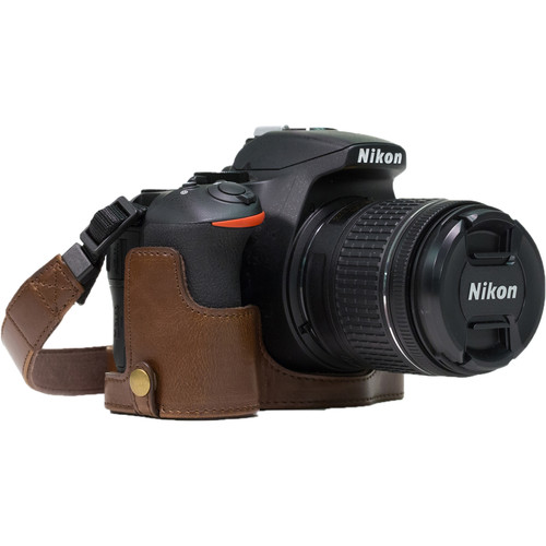 MegaGear Ever Ready PU Leather Half Case and Strap for Nikon D5600, D5500 (Dark Brown)