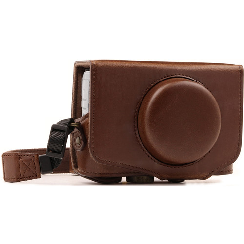 MegaGear Ever Ready Leather Camera Case for Canon PowerShot SX730 HS (Dark Brown)