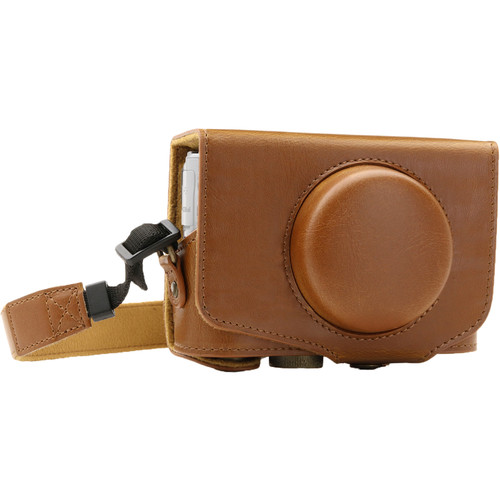 MegaGear Ever Ready Leather Camera Case for Canon PowerShot SX730 HS (Light Brown)