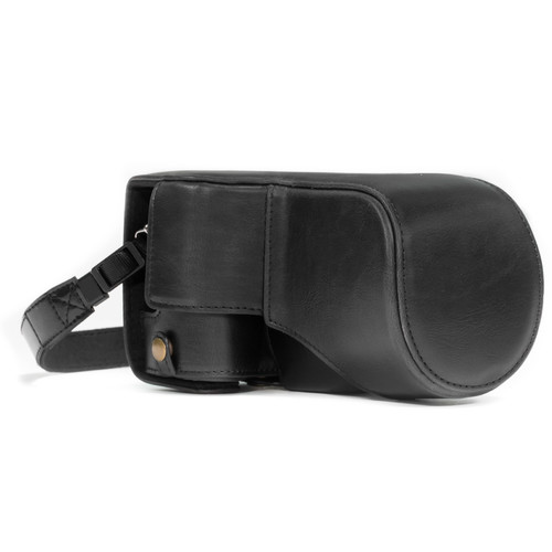 MegaGear MG1179 Ever Ready PU Leather Case & Strap for Canon EOS M6 & 18-55mm (Black)