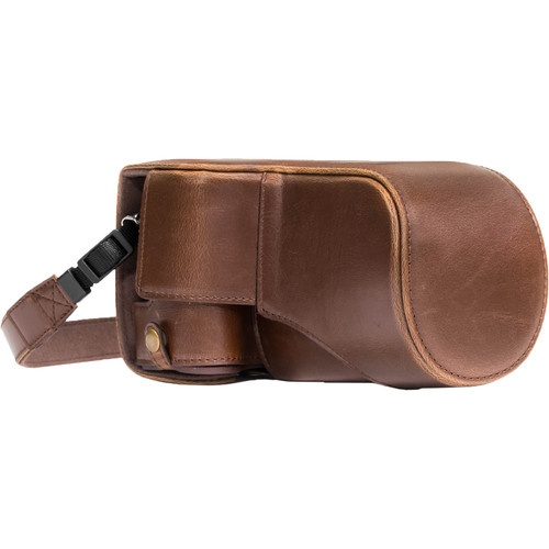MegaGear MG1180 Ever Ready PU Leather Case & Strap for Canon EOS M6 & 18-55mm (Dark Brown)