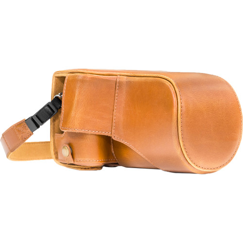 MegaGear MG1181 Ever Ready PU Leather Case & Strap for Canon EOS M6 & 18-55mm (Light Brown)