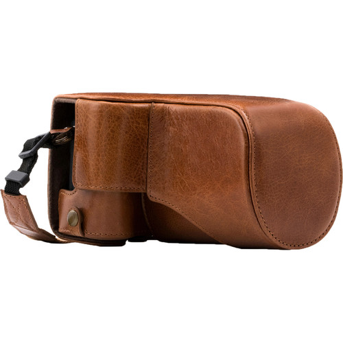 MegaGear MG1183 Ever Ready Genuine Leather Case with Bottom Opening for Canon EOS M6 & 18-150mm (Dark Brown)