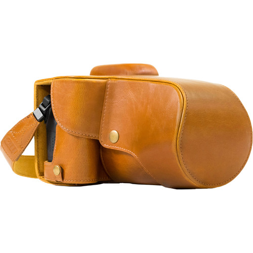 MegaGear MG1186 Ever Ready Genuine Leather Case with Bottom Opening for Canon EOS T6s, 760D, 800D & 18-55mm (Light Brown)
