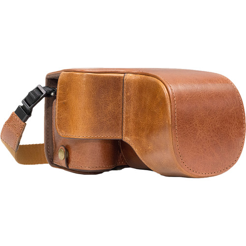 MegaGear Ever Ready Genuine Leather Case & Strap for Sony a6500 with 16-70mm Lens (Light Brown)