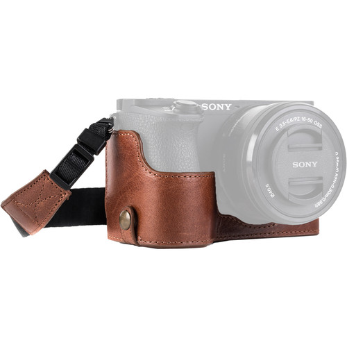 MegaGear Ever Ready Genuine Leather Camera Half Case and Strap for Sony Alpha a6500 (Dark Brown)
