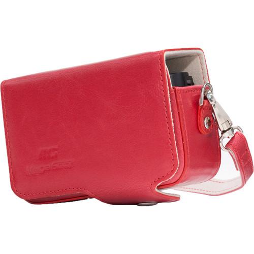 MegaGear PU Leather Case with Strap for Sony Cyber-shot DSC-HX95, HX99, HX80, HX90V, WX500 (Red)