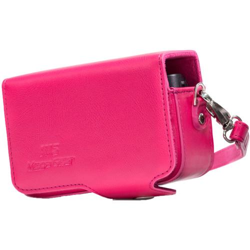 MegaGear PU Leather Case with Strap for Sony Cyber-shot DSC-HX95, HX99, HX80, HX90V, WX500 (Hot Pink)