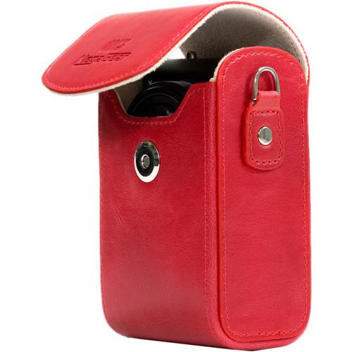 MegaGear Leather Camera Case for Panasonic Lumix DC-ZS70, DMC-LX10, DMC-ZS60, or DMC-ZS100 (Red)