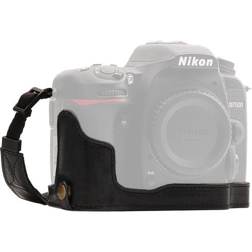 MegaGear Nikon D7500 Ever Ready Genuine Leather Half Case and Strap (Black)