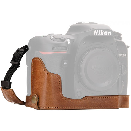 MegaGear Nikon D7500 Ever Ready Genuine Leather Half Case and Strap (Brown)