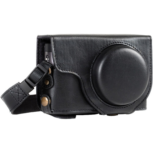 MegaGear Ever Ready Leather Camera Case for Panasonic LUMIX DC-ZS70 and DC-TZ90 (Black)