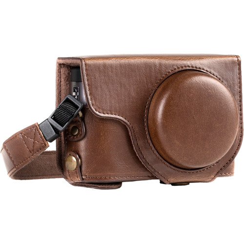 MegaGear Ever Ready Leather Camera Case for Panasonic LUMIX DC-ZS70 and DC-TZ90 (Dark Brown)