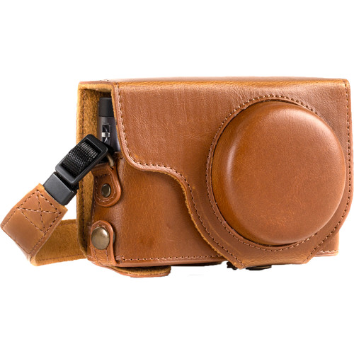 MegaGear Ever Ready Leather Camera Case for Panasonic LUMIX DC-ZS70 and DC-TZ90 (Light Brown)