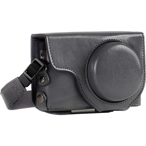 MegaGear Ever Ready Leather Camera Case for Panasonic LUMIX DC-ZS70 and DC-TZ90 (Gray)