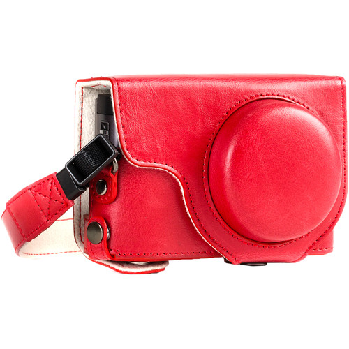 MegaGear Ever Ready Leather Camera Case for Panasonic LUMIX DC-ZS70 and DC-TZ90 (Red)
