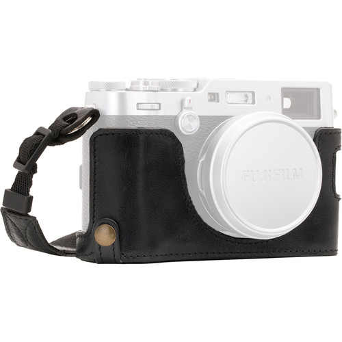MegaGear Ever Ready Leather Half Case and Strap for Fujifilm X100F (Black)