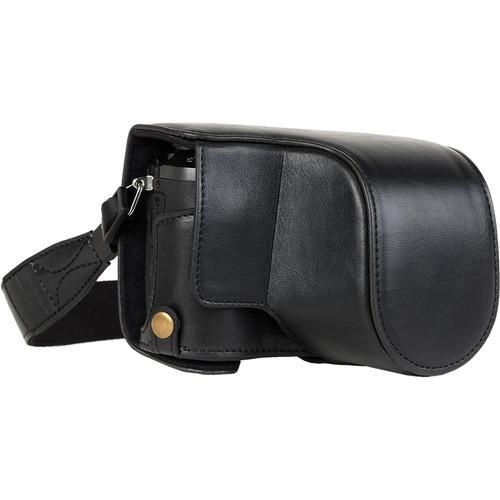 MegaGear Ever Ready Leather Camera Case for Panasonic Lumix DMC-GX85, GX80 with 12-32mm Lens (Black)