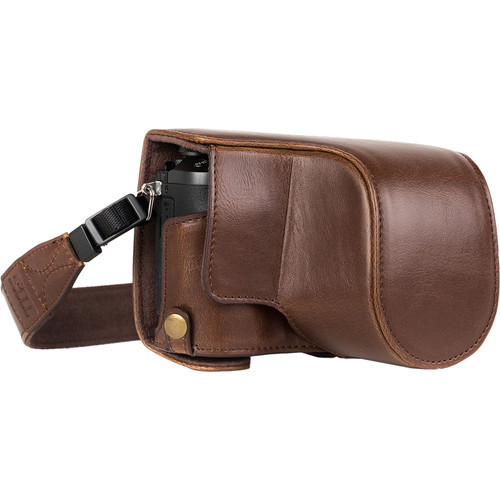 MegaGear Ever Ready Leather Camera Case for Panasonic Lumix DMC-GX85, GX80 with 12-32mm Lens (Dark Brown)